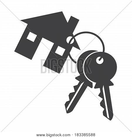 House key ison silhouette on white background.