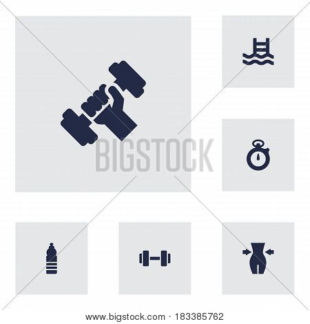 Set Of 6 Fitness Icons Set.Collection Of Timer, Slimming, Bodybuilding And Other Elements.