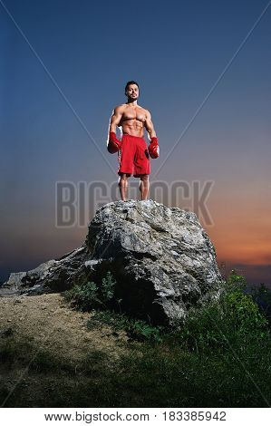 Young muscular male fighter wearing boxing gloves standing in a stance on a rock outdoors on sunset copyspace people lifestyle sports athletics sportsman fitness muscles combat martial fighting.