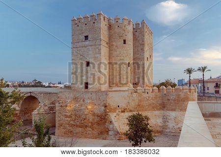 Roman bridge over the Guadalquivir River and Calahorra Tower. Cordoba, Andalusia, Spain.