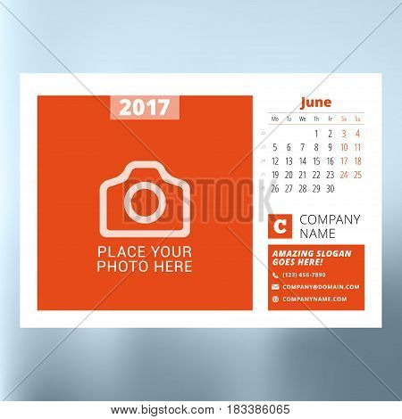 Calendar Planner Template For June 2017. Week Starts Monday. Design Print Vector Template Isolated O