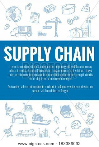 Vector Template For Supply Chain Theme With Hand Drawn Doodles Logistic Business Icons In Background