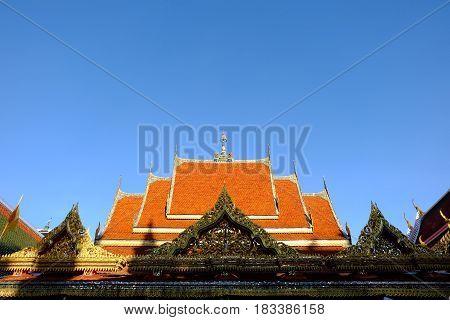 Ancient Gable at Wat Khun Chan Temple Bangkok, Thailand.