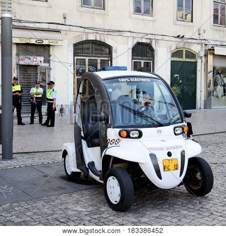 Lisbon, Portugal - May 15, 2012: Electric police car in downtown of Lisbon