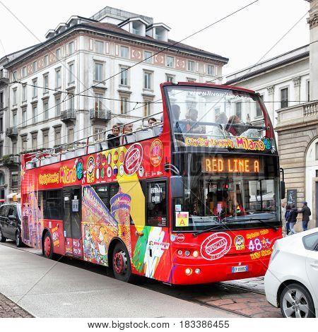 Milan, Italy - October 15, 2016: Hop on Hop off city sightseeing bus in Milan