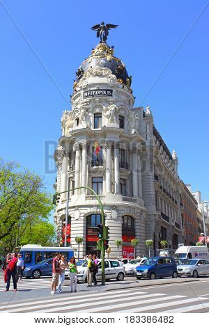 Madrid, Spain - May 09, 2012: Metropolis building on the corner of Calle de Alcala and Gran Via in Madrid