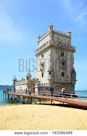 Lisbon, Portugal - May 15, 2012: Tower of Belem (Torre de Belem) in Lisbon