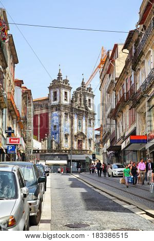 Porto, Portugal - May 12, 2012: Old street (Rua de 31 de Janeiro) in downtown of Porto