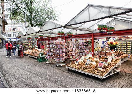 Amsterdam, Netherlands - September 09, 2011: Amsterdam bulb and flower market (Bloemenmarkt)