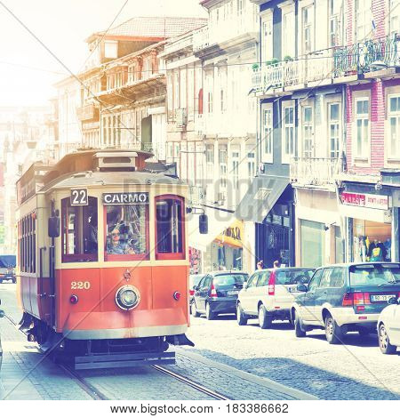 Porto, Portugal - May 12, 2012:  Old tram in downtown of Porto