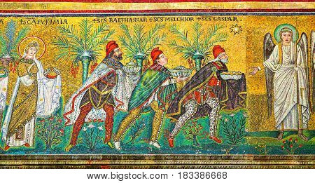 Ravenna, Italy - October 14, 2016:  Mosaic with three Magi in Sant Apollinare Nuovo in Ravenna. Circa 6th century