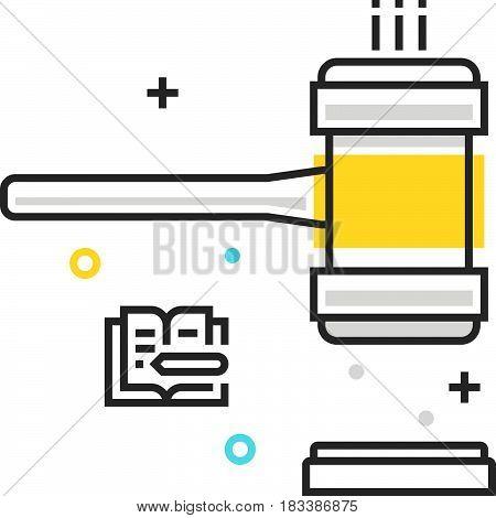 Color Box Icon, Judge Hammer Illustration, Icon