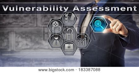 Blue chip security consultant initiating Vulnerability Assessment via virtual control matrix. Information technology and business concept for identifying and quantifying threats to an IT system.
