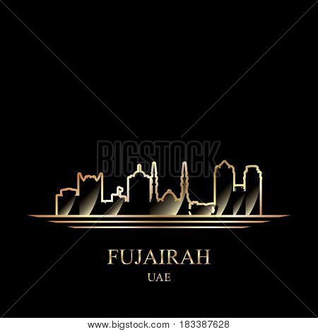 Gold Silhouette Of Fujairah On Black Background