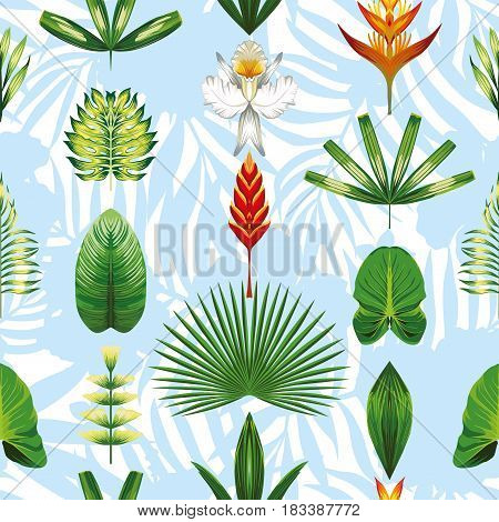 Seamless pattern composition of tropical plants flowers in a trendy geometric symmetrical style. Natural wallpaper on light blue white background