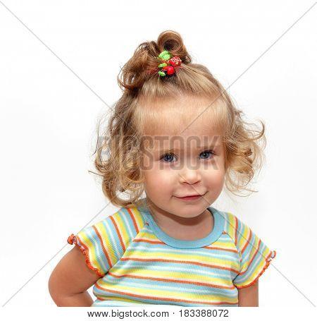 cute simling girl portrait on white background
