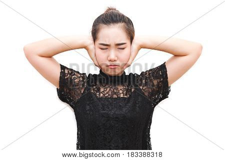 Asia Woman Stoping And Covering Ears With Her Hands