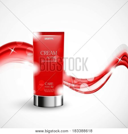 Skin moisturizer cosmetic design template with red realistic bottle and wavy soft starry light shiny lines on white background. Vector illustration
