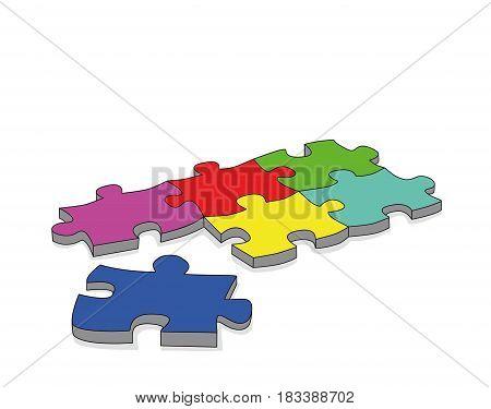 3- d puzzle . vector illustration .
