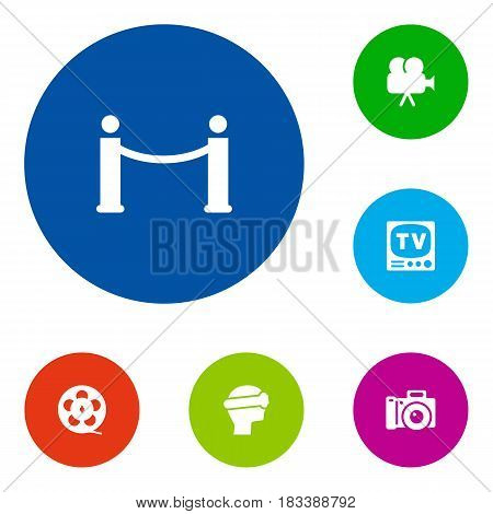 Set Of 6 Entertainment Icons Set.Collection Of Television, Camera, Filmstrip And Other Elements.