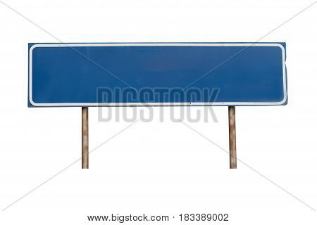 Empty blue sign on white background Isolated