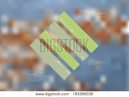 Illustration infographic template with motif of rhombus askew divided to four standalone green sections with simple sign number and sample text. Blurred photo is used as background.