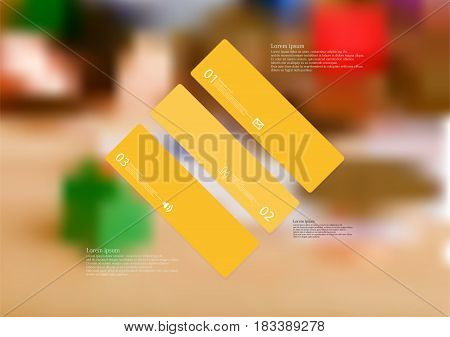 Illustration infographic template with motif of rhombus askew divided to three standalone orange sections with simple sign number and sample text. Blurred photo is used as background.