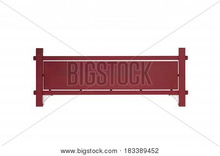 Empty old red sign on white background Isolated
