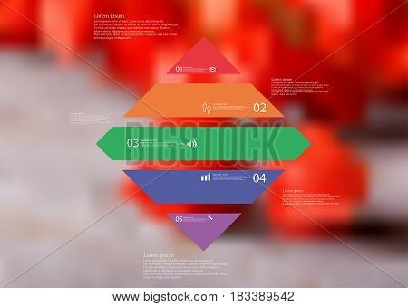 Illustration infographic template with motif of rhombus horizontally divided to five standalone color sections with simple sign number and sample text. Blurred photo is used as background.
