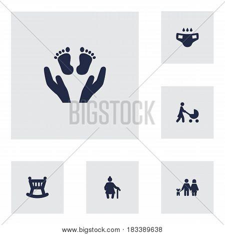 Set Of 6 People Icons Set.Collection Of Perambulator, Cot, Grandma Elements.