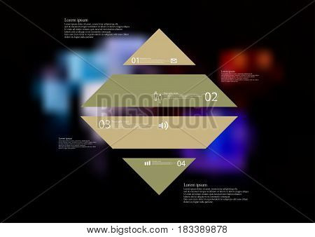 Illustration infographic template with motif of rhombus horizontally divided to four standalone color sections with simple sign number and sample text. Blurred photo is used as background.