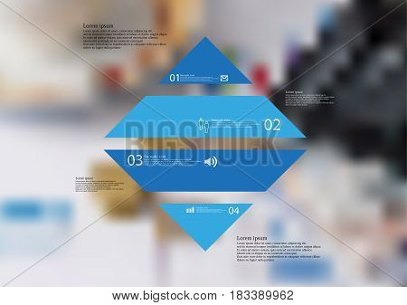 Illustration infographic template with motif of rhombus horizontally divided to four standalone blue sections with simple sign number and sample text. Blurred photo is used as background.