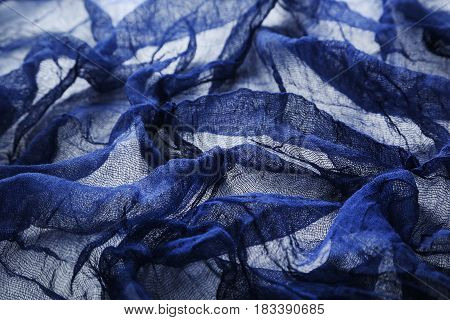 Blue gauze fabric background, on close up