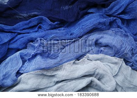 Colorful gauze fabric background, on close up
