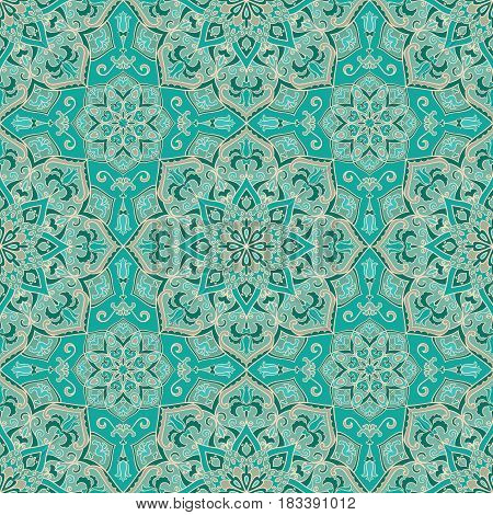Vector ornate pattern with floral elements. Oriental turquoise ornament. Colorful template for carpet. Design for textile carpet shawl.
