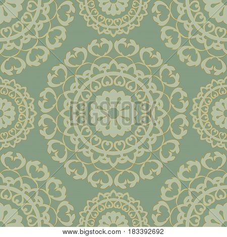 Seamless vector background. The pattern with simple mandalas. Oriental green ornament. Template for carpet shawl textile.