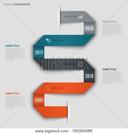 Time line info graphic with folded colored design paper vector eps 10