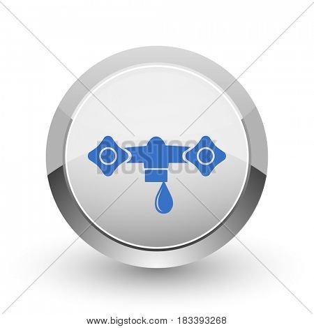 Water chrome border web and smartphone apps design round glossy icon.
