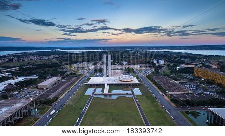 Panoramic view of Congresso Nacional in Brasilia during sunset