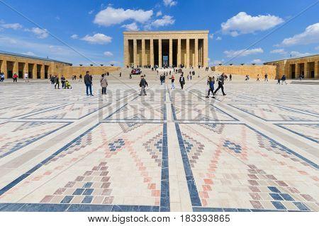 ANKARA, TURKEY - MARCH 27, 2017: Anitkabir, Mausoleum of Ataturk - Ankara, Turkey