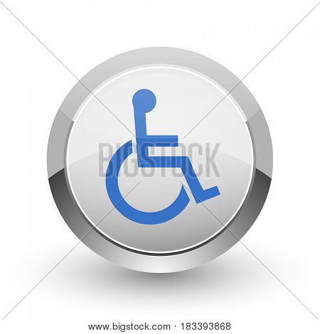 Wheelchair chrome border web and smartphone apps design round glossy icon.