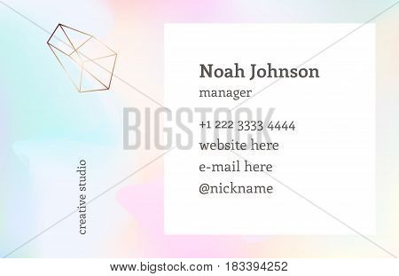 Rainbow hologram color. Double-sided business card template with a crystal logo. Corporate identity template. Blurry holographic background. Chatoyant backdrop.Vector. Nacreous pearl pastel colors.