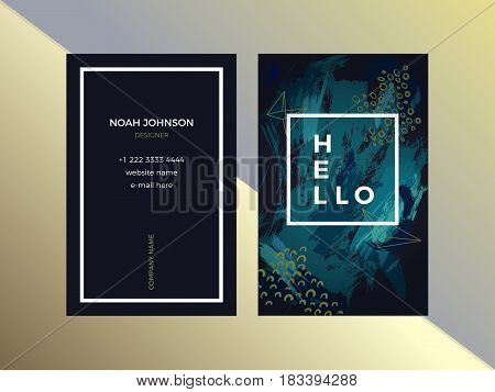 Template of double sided business card in emerald color. Dark green and white. Artistic texture. Brush strokes. The cover and reverse side. Strict style. Suitable for use for the graphic designer.
