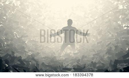 businessman in a paper storm, 3d illustration