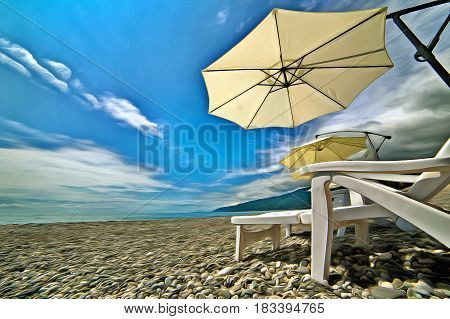Beach umbrellas and chaise-lounges on the beach colorful painting landscape