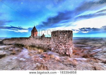 Colorful painting of Church of the Holy Mother of God St. Astvatzatzin, Khor Virap, Armenia