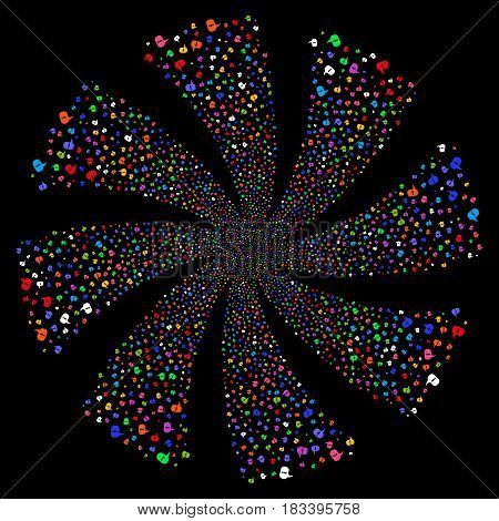 About fireworks swirl rotation. Vector illustration style is flat bright multicolored iconic symbols on a black background. Object twirl created from random pictograms.