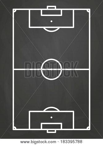 vector illustration of soccer field on an black board background