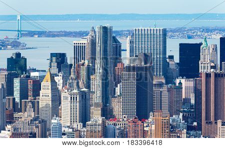 Manhattan, New York - April of 2015, USA: Aerial view of Manhattan skyline skyscrapers up close