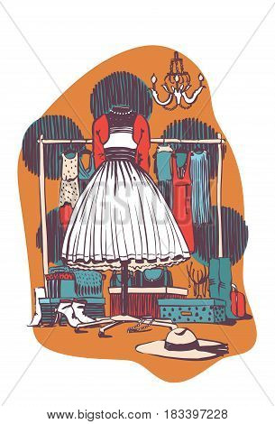 Fluffy dress on black mannequin in an interior full of accessories bags boxes shoes. Large hat on foreground. Fashion hand drawn vector illustration in retro colors of fashion shop or boutique.